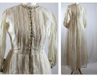 Designer Gina Fratini 70's ivory Silk wedding Dress