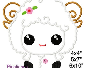 Lamb Easter Machine Applique Design Embroidery Pattern 4x4 5x7 6x10 7x11 INSTANT DOWNLOAD