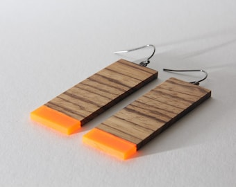 Wooden earrings, Minimalistic earrings, Geometric earrings, Modern Ethno earrings, perfect gift for her, wooden jewelry