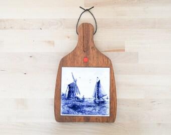 Coupe Vintage Conseil • Blauw Delfts Style • Hollande moulin à vent • Blue Willow cuisine • Shabby Chic décor • porcelaine poterie carrelage
