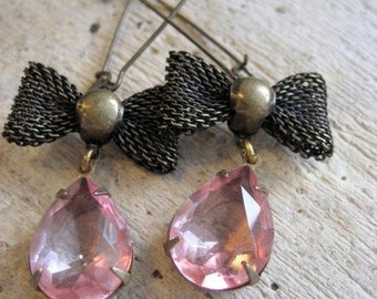 Glass Jewel Earrings.  Pink Vintage Teardrop. At the Ballet. Sweet Gift for Her Under 25