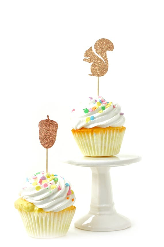 Squirrel/Acorn Rose Gold Glitter Cupcake Toppers, Rose Gold Fall Toothpicks, Rose Gold Party Decor, Food Decoration, Harvest, Halloween Fall