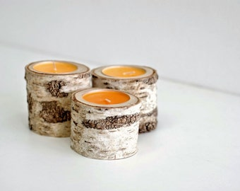 Tree Branch Candle Holders Set of 3 Wooden from natural wood , ideal as rustic Woodland wedding decor