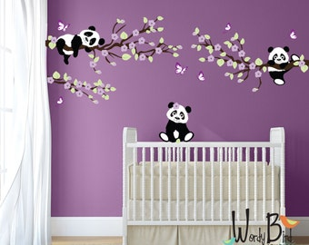 Panda Wall Decals, Tree wall decals with Cherry Blossom Branches and Butterflies, reusable kids wall decals, nursery decals - WB-552