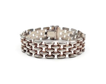 Sterling Silver Italy Mesh Chain Bracelet - Modernist Jewelry, Italian Sterling Bracelet, Chainmaille Style, Vintage Sterling Bracelet