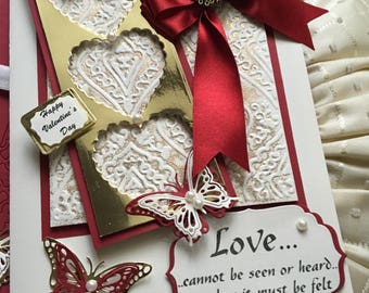 Handmade, Luxury, Love Card, Valentine's Day Card, Boxed, A5, Cream Gold, Wife, Fiancée, Girl-Friend, Mother, Valentine