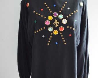 Colorful Stones Beaded Embellished Oversized Women's Sweater Jumper Print Hipster Jeweled Jewel Gemstone Gems Glam Bedazzled