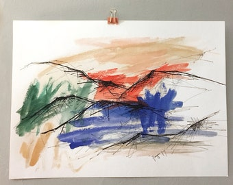 """Mountain Range Series- Original 11x15"""" Watercolor and Ink, Abstract Landscape"""