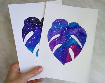 Original Monstera Leaves Watercolor painting Star Galaxy Night sky Space painting Galaxy Monstera illustration Tropical Leaf paintings