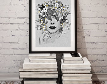 DAISY GODDESS / Printable Art for Home Decor / Woman Flowers Daisies Floral Abstract Drawing Digital Print Poster Wall Decor / 8x10 DOWNLOAD