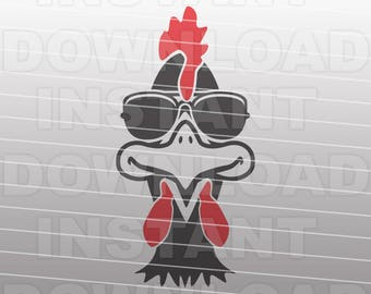 Chicken SVG File,Chicken in Sunglasses SVG,Cute Farm Chicken SVG -Commercial & Personal Use-svg for Cricut,Silhouette svg,vector svg,svg cut