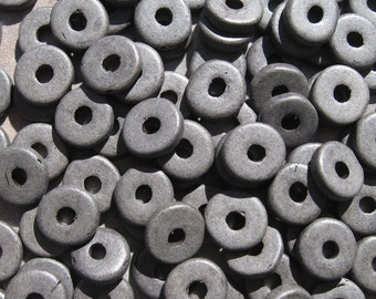 25 Graphite Greek Ceramic Beads 8mm Large Holed Round Washers - Disks