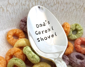 Unique Father's Day gift Ready to Ship - vintage hand stamped cereal spoon, Dad's Cereal Shovel, Engraved cereal spoon, silver plated teaspo