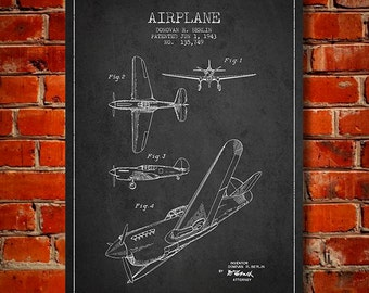 1943 Airplane Patent, Canvas Print, Wall Art, Home Decor, Gift Idea
