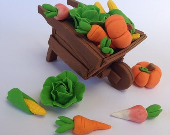1 edible 3D WHEELBARROW & 12 VEGETABLES peter rabbit theme harvest farm garden cake cupcake wedding topper decoration birthday engagement