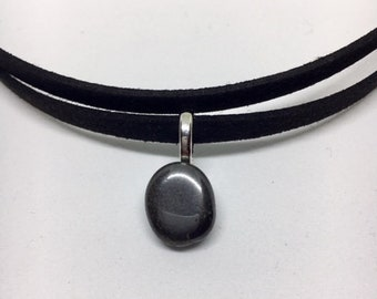 Double Strand Suede Hematite Crystal Choker - Healing Stone Necklace - Black Leather Suede Choker