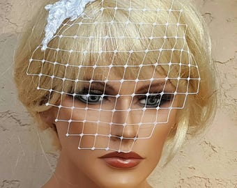 French Net  Veil, Bridal Veil,  French Net Veil, Lace Veil, Small Veil, VIntage Style Veil, White Bridal Veil, White Bridal Veil, Veils