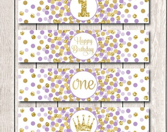 Princess Birthday Party Water Bottle Labels 1st Birthday Party Decorations Little Princess Birthday Party Purple Labels INSTANT DOWNLOAD