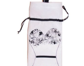 Wine bottle Bag - white/blk