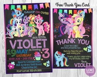 My Little Pony Invitation with Free Thank You Card,Pony Invitation,Birthday Party,Little Pony Party,Printable Invitation, Digital Invitation