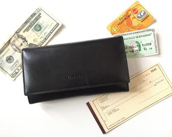 Womens Wallet - Checkbook Wallet for Women - Leather Wallet Women - Coin Pocket - Snap Closure - Ladies Wallet Leather - Vintage Wallets