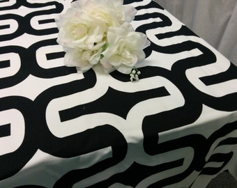 LARGE GEOMETRIC TABLECLOTH  Choose Color and size,  Black, Orange, Grey, Corn Yellow, Teal, 54 60 72 84