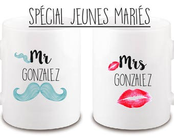 "SET OF 2 MUGS ""MR AND MRS"""