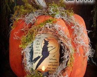 Grungy Carved Pumpkin With Vintage Witch Image