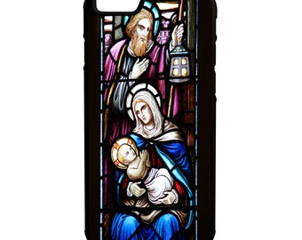 Baby Jesus Stained Glass Window iPhone Galaxy Note LG HTC Hybrid Rubber Protective Case Bible Scripture