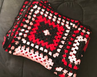 Red, Black and Pink Granny Square Crochet Blanket Twin Size