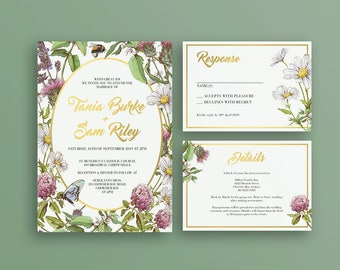 HONEYBEE SUITE - Printable Custom Wedding Invitation | Rustic Florals Bees & Butterflies | Faux Gold Foil Calligraphy