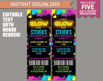 Neon Glow Party Ticket Invitation for Boys (Yellow) - INSTANT DOWNLOAD - Glow in the Dark Party - Edit and print at home with Adobe Reader