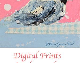 Pink & Blue Chickadee Bird Painting Print. Cottage Chic Animal Portrait Art Print. Living Room Art Print. Wall Decor Art Print. 33