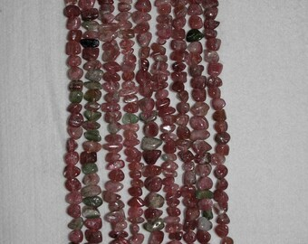 Tourmaline, Watermelon Tourmaline, Smooth Chips, Semi Precious Bead, Tourmaline Pink Chip, Gemstone Bead, Half Strand, 7-9 mm, AdrianasBeads