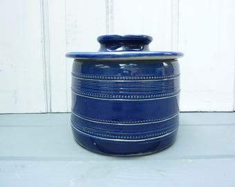 French rustic blue salt glaze butter crock with lid and beaded pattern.
