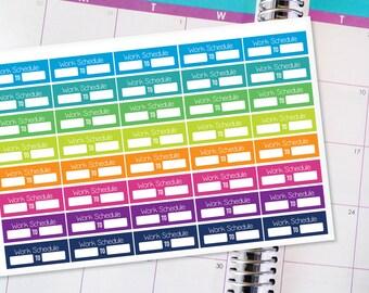 Planner Stickers Erin Condren Life Planner (ECLP) - 40 Work Schedule Stickers (#6002)