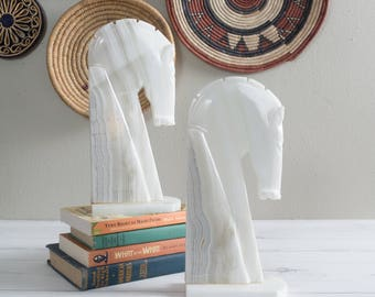 Set of Two Onyx Horse Head Bookends