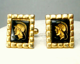 Cameo Soldier Cufflinks 1960s,  Vintage Black Glass w Goldtone Square Metal Settings,  Mid Century