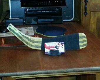 Hockey Stick Blade & Puck Business Card Holder (hockey sticks, hockey christmas gift, hockey player gift, hockey gift, hockey coach gift