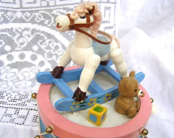 "Musical Wind-Up Toy Vintage Enesco Collectible ""Toy Land"" Rocking Horse Drum Christmas Decor"
