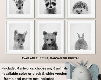 Black and white animal prints nursery, Woodland animal nursery decor, Forest baby animals, Forest animals Nursery prints Print/Canvas/Digi