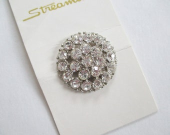 25 mm Rhinestone Button Vintage new on card