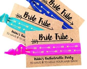 PERSONALIZED Bride Tribe Hair Tie Favors | Bachelorette Party Favors, Bohemian Bachelorette, Gold Arrow Tribal Cactus Bride Tribe Hair Ties