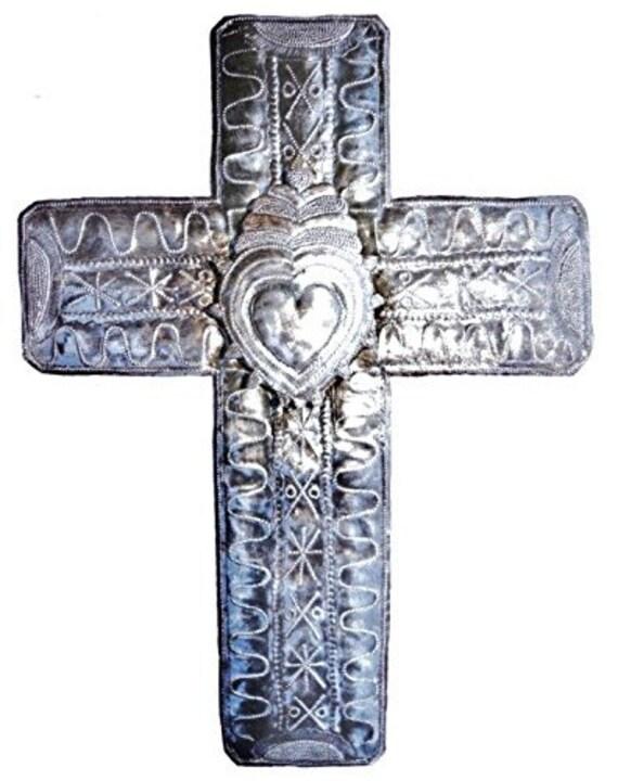 """Haitian Metal Folk Art Cross with 3-D Heart, 14"""" X 19"""""""