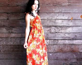 70s tropical maxi dress - crimson red floral sundress - hawaiian muumuu - extra small xs