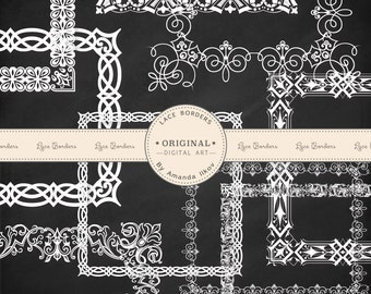 Premium Digital Lace Frames, Lace Border Clip Art, Digital Scrapbook Frames - White Lace Square Frames and Rectangle Frames