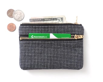 Wallet Coin Purse Double Zipper Pouch Black Grid