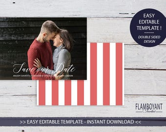 MODERN SCRIPT -  Save the Date Card - Editable Templates - Custom Photo Save the Date - Printable - Instant Download