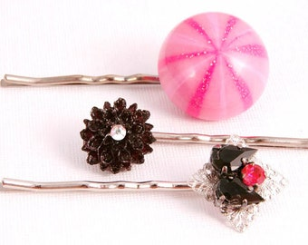 Floral Hair Pins, Pink Black Flower Vintage inspired, Peppermint,  Retro Hair Accessories,  Gifts for Her Under 20