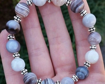 Botswana agate bracelet 10mm beads Healing stackable jewelry Stretchy Bracelet